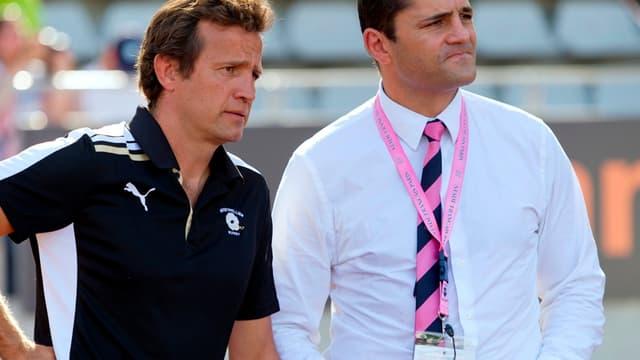 Richard Pool-Jones, ici avec l'entraîneur de Montpellier, Fabien Galthié