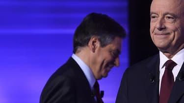 Alain Juppé et François Fillon lors du dernier débat de la primaire de la droite, le 24 novembre 2016.