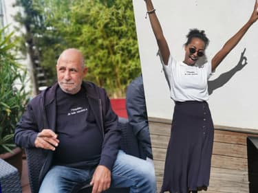 """Laura, gérante de la boutique """"Les deux Comptoirs à Marseille"""" à gauche, et son père à l'origine de l'idée, à gauche."""