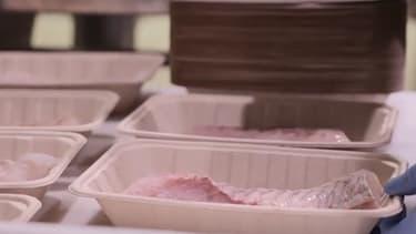 Auchan généralise les barquettes compostables au rayon viande et poissonnerie dans tous ces magasins au cours du mois de mars 2021.