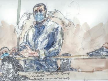 Un croquis d'audience d'Ali Riza Polat, au procès des attentats de janvier 2015, à la cour d'assises spéciale de Paris, le 26 octobre 2020.