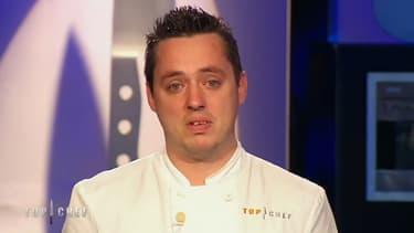 """Christophe au moment de son élimination, lundi soir dans """"Top Chef"""""""