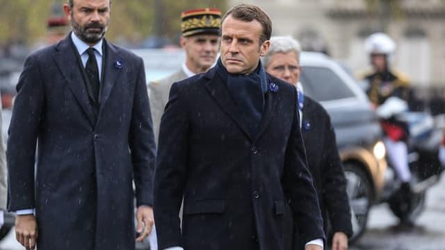 Le président Emmanuel Macron et le Premier ministre Edouard Philippe à la cérémonie à l'Arc de Triomphe, le 11 novembre 2019
