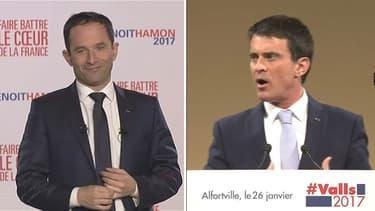 Benoît Hamon et Manuel Valls lors de leur dernier meeting respectif, ce jeudi.