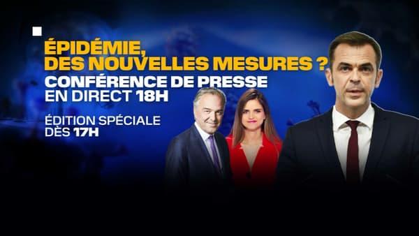 Edition spéciale à partir de 17h sur BFMTV à l'occasion de la conférence de presse d'Olivier Véran.