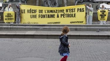 Une manifestation d'activistes de Greenpeace en 2018 à Nantes.