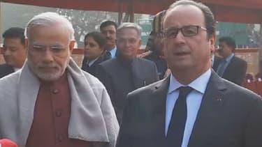 François Hollande, en visite d'Etat en Inde a pris le métro avec le Premier ministre Indien Narenda Modi - Lundi 25 janvier 2016