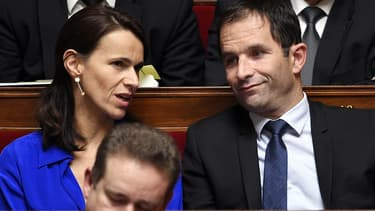 Aurélie Filippetti et Benoît Hamon à l'Assemblée nationale