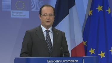 François Hollande lors de sa conférence de presse à Bruxelles le 15 mai avec José Barroso