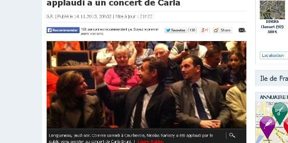 Nicolas Sarkozy applaudi au concert de son épouse Carla jeudi soir à Longjumeau.