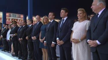 François Hollande, Emmanuel Macron et Nicolas Sarkozy en compagnie de Christian Estrosi lors de la cérémonie d'hommage aux victimes de l'attentat de Nice le 14 juillet 2017