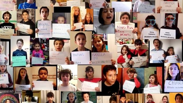 700 enfants chantent en choeur face eau coronavirus