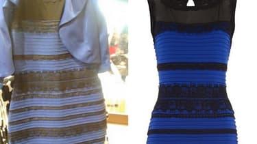 A gauche: diffusée sur le web, la photo de la robe avait divisé les internautes en deux camps distincts fin février: ceux qui la disaient bleue et noire, et ceux qui pensaient qu'elle était blanche et dorée. A droite, la robe originale.