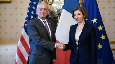 Le ministre américain de la Défense Jim Mattis lors de sa rencontre avec Florence Parly.