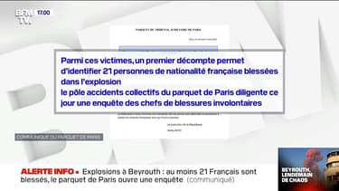 Explosions à Beyrouth: 21 Français blessés, le parquet de Paris ouvre une enquête
