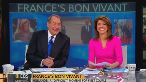 Les deux présentateurs de CBS n'ont pas caché leur amusement face à l'affaire Hollande-Gayet.
