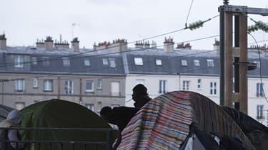Image de l'évacuation du camp de migrants porte de la Chapelle en juin 2016.