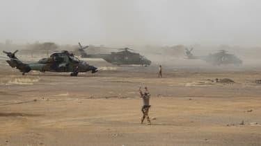 Un hélicoptère français Tigre, à une base des forces armées maliennes, le 27 mars 2019 (photo d'illustration)