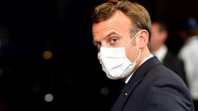 Le président français Emmanuel Macron lors du sommet de l'UE à Bruxelles, le 18 juillet 2020