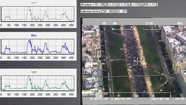 Image aérienne prise lors de la manifestation du 24 mars passée à l'analyse du logiciel Tungstène