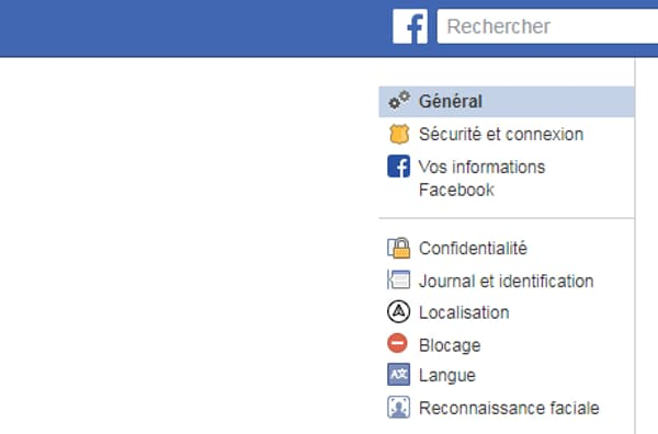 Les paramètres de Facebook.
