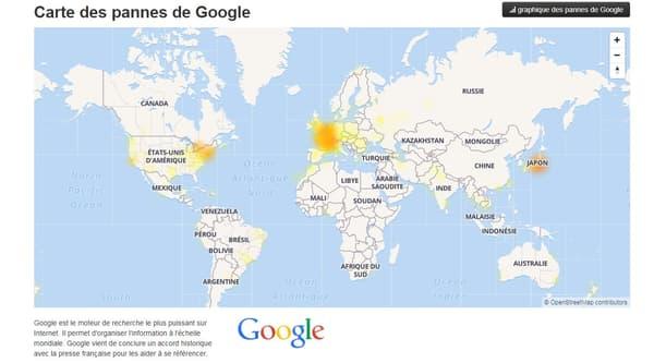 Carte des pannes Google le lundi 5 mars
