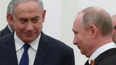 Le Premier ministre israélien Benjamin Netanyahu et le président russe Vladimir Poutine au Kremlin à Moscou, le 9 mai 2018