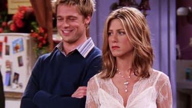 "Brad Pitt et Jennifer Anniston dans ""Friends"" en 2001"
