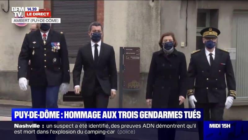 Puy-de-Dôme: Gérald Darmanin et Florence Parly arrivent à la cérémonie d'hommage aux trois gendarmes tués
