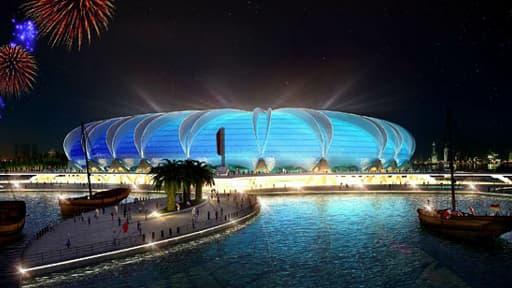 Maquette du stade de Port Doha, qui sera construit dans une péninsule artificielle.