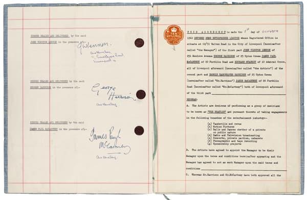 Le premier contrat signé des Beatles
