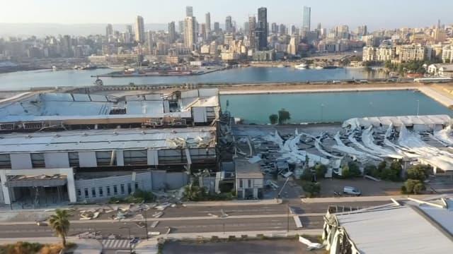 Une image du port de Beyrouth dévasté, prise par drone.