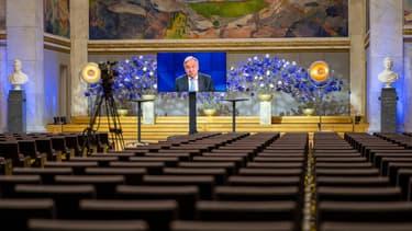 Le secrétaire général de l'ONU, Antonio Guterres, lors d'une conférence en ligne, cinq ans après les accord de Paris, le 11 décembre 2020.