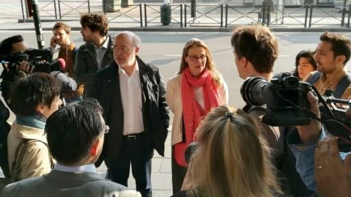 Les indépendantistes catalans Lluis Puig et Meritxell Serret, à Bruxelles le 16 mai 2018