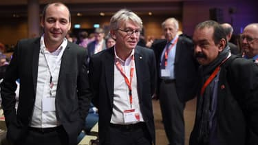 Laurent Berger (CFDT) , Jean-Claude Mailly (FO) et Philippe Martinez (CGT)