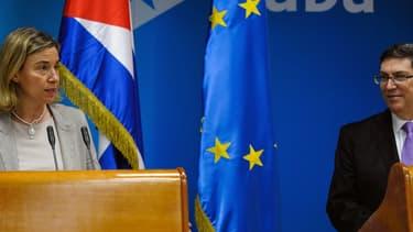 Federica Mogherini, chef de la diplomatie européenne, et Bruno Rodriguez, ministre cubain des affaires étrangères le 11 mars 2016