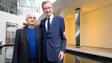 Bernard Arnault avec l'architecte Frank Gehry à la Fondation Vuitton
