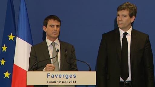 Le Premier ministre Manuel Valls avec Arnaud Montebourg lundi 12 mai