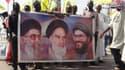 De gauche à droite, les ayatollahs Ali Khamenei, Ruoholah Khomeini et le chef du Hezbollah Hasan Nasrallah. Le 25 juillet au nord du Nigeria.