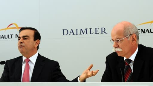 Carlos Ghosn, le patron de Renault-Nissan, en compagnie de Dierter Zetsche, son homologue chez Daimler.