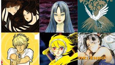 """Couvertures des mangas """"Spirale"""", Tomie"""", Phénix"""", Banana Fish"""", """"Destination Terra"""" et """"Eden"""""""