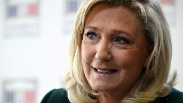 La présidente du Rassemblement national, Marine Le Pen, le 9 mars 2021 à Paris