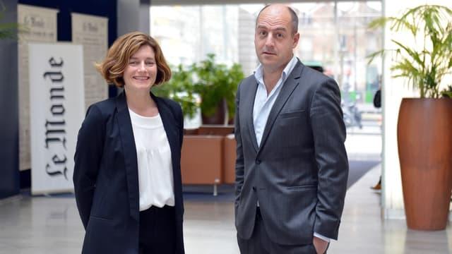 Natalie Nougayrede et le président du directoire Louis Dreyfus en mars 2013