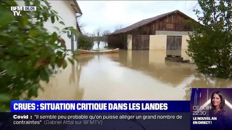 Crues: la situation est critique dans les Landes, des habitants secourus par les sapeurs-pompiers