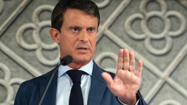 L'ancien Premier ministre Manuel Valls, le 26 septembre 2018 à Barcelone lors d'une conférence de presse au lendemain de l'annonce de sa candidature à la mairie de la ville.