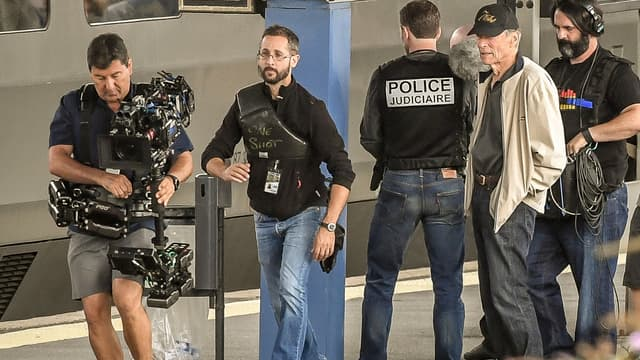 Clint Eastwood sur le tournage du 15h17 pour Paris
