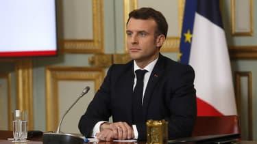Le président Emmanuel Macron à l'Elysée, le 19 février 2021