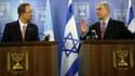 Le Secrétaire général de l'ONU Ban Ki-moon et le Premier ministre israélien Benyamin Netanyahou en conférence de presse
