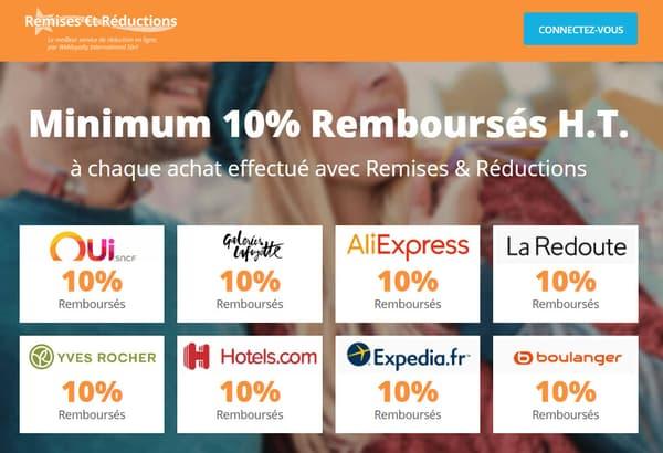 """Interface du site """"Remises et Réductions"""""""