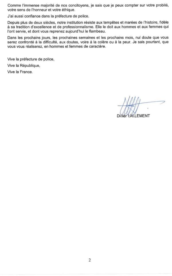 Le courrier de Didier Lallement
